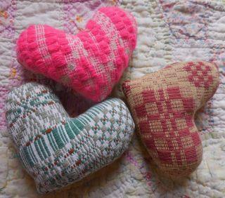 Primitive Vintage Woven Coverlet Scrappy Heart Pillow Tucks Prim Valentine Decor photo