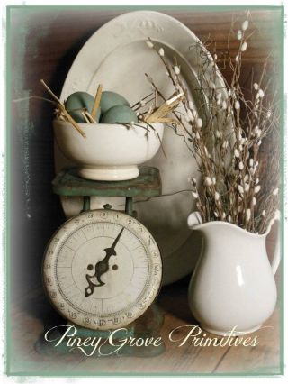 Primitive Farmhouse Antique Teal Kitchen Weigh Scale Spring Eggs Gathering photo