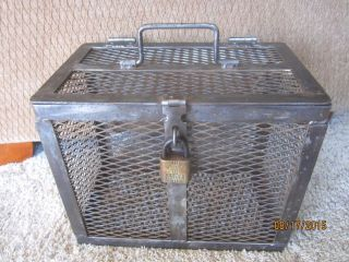 Industrial Cage Safe Iron Strong Box Portable Tool Pet Carrier? Brass Lock & Key photo