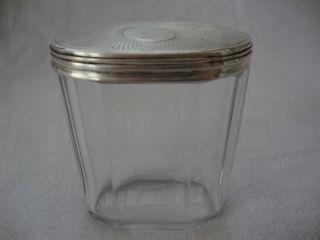 Antique Solid Sterling Hallmark Silver Topped Glass Ladies Dressing Table Pot photo