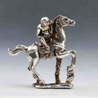 Chinese Collectable Tibet Silver Monkey & Horse Statue Gd8788 photo