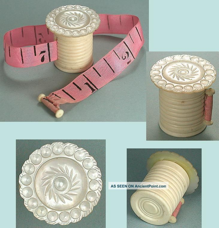 Antique Mother Of Pearl & Bone Workbox Tape Measure Circa 1850 Tools, Scissors & Measures photo