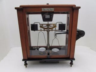 Vintage L Oertling Releas - O - Matic Balance Apothecary Scales In Cabinet Mod.  125a photo