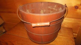 Vintage Wooden Farm Bucket / Water / Milk Pail photo