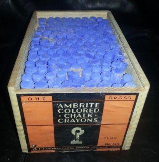 Antique Wood Box Of Blue Chalk Full Ambrite American Crayon Company photo