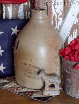 Antique Crock Fruit Syrup Jug Early Soda Fountain Primitive Rochester Ny photo