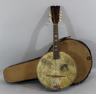 Antique Roaring 20s Oliver Ditson Mandolin Banjo,  Irving Berlin Autograph photo