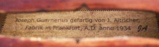 Rare,  Antique Julius Altricher Old Labeled 4/4 Master Violin photo
