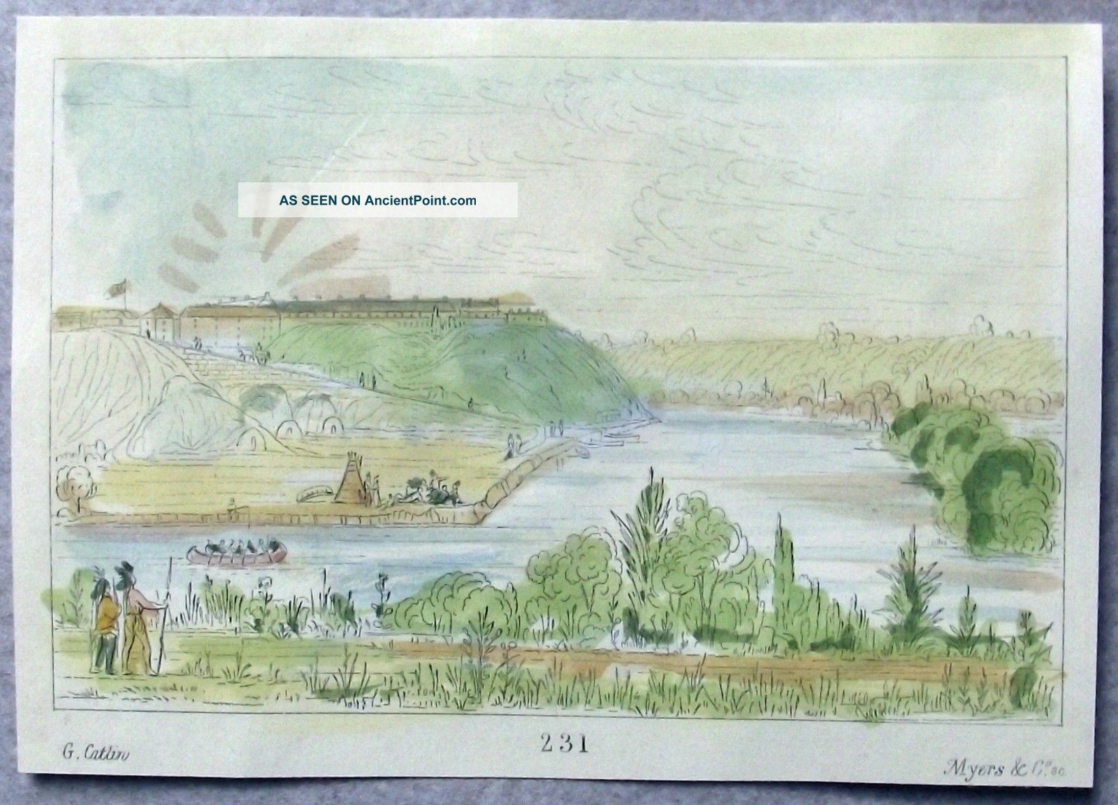 1842 G.  Catlin Handcol Engraving Native American Indians Fort Snelling Native American photo