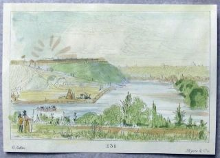 1842 G.  Catlin Handcol Engraving Native American Indians Fort Snelling photo