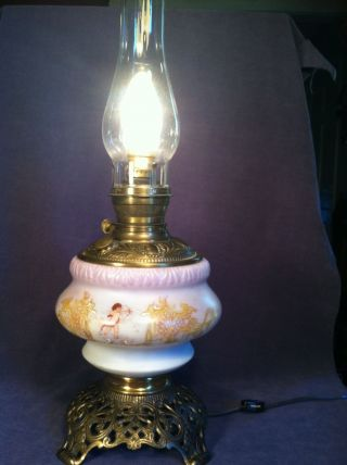 White Glass & Brass Antique Oil Lamp With Painted Angels Converted photo