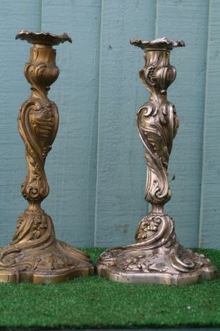 Pair: 19thc Silverplate Large Candlesticks With Intricate Decor C1880s photo