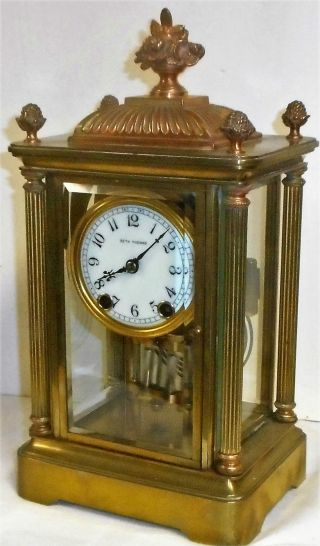 Antique Seth Thomas Kaiser Empire 15 Day Chime Clock Crystal Regulator photo
