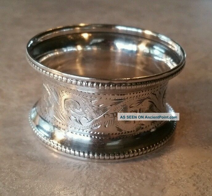 Vtg.  Antique English Sterling Silver Napkin Ring Rolason Brothers 1919 Napkin Rings & Clips photo