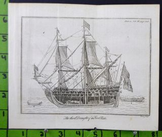 1776 Copper Plate Engraving Ship Building Maritime Engineering Pirates Print photo