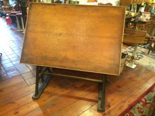 Vintage 1920 ' S Arts & Crafts - Mission Style All Drafting Table photo