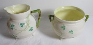 Vintage Belleek Shamrock Open Sugar Bowl And Creamer 6th Green Mark Footed photo