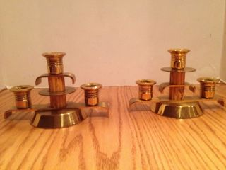 Vintage Art Deco Brass Candlesticks With Bakelite Pair photo