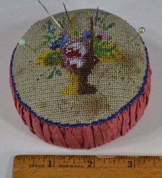 Sewing Pin Cushion Beaded Hand Made Victorian Edwardian Antique photo