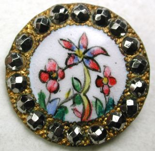 Antique French Enamel Button Hand Painted Flowers & Cut Steel Border - 11/16 photo