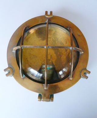 Vintage Solid Brass Ship ' S Bulkhead Light,  - Substantial. photo