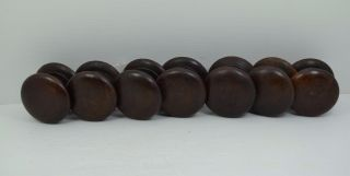 7 Antique Victorian Turned Hardwood Drawer Knobs 2.  1/4