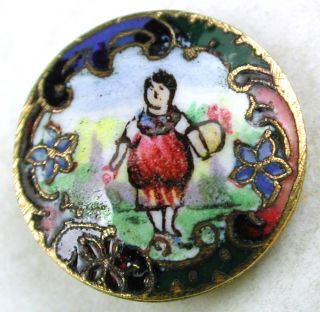Antique French Enamel Button Woman Carrying A Basket Pictorial - 9/16