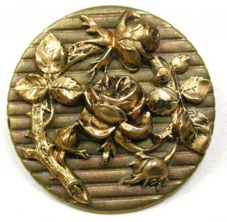 Lg Sz Antique Brass Button Detailed Rose Flowers Design - 1 & 1/4
