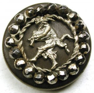 Antique Brass Button Pied Piper Pictorial W/ Cut Steel Border - 7/8