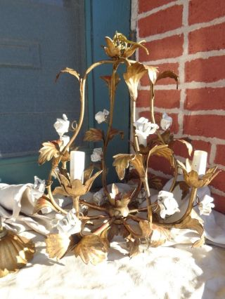 Pretty Vintage Italian White Rose Floral Porcelain Gold Gilt Metal Chandelier photo