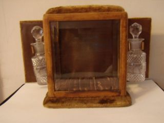 Antique Perfume Casket - Caddy,  Etched Glass Bottles - Lovely Showpiece Nr photo