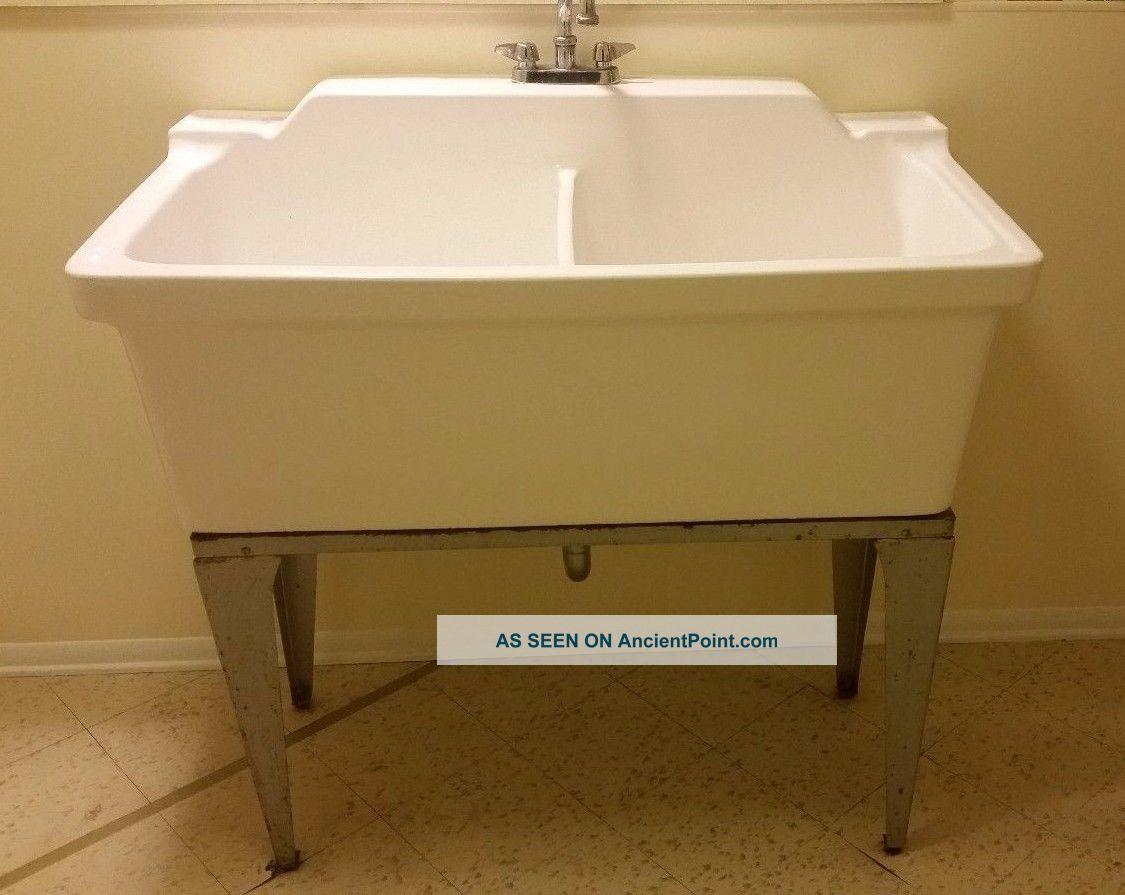 Double Basin Laundry Sink : Vintage Laundry Porcelain Double Basin Sink Sinks photo