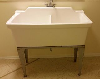 Vintage Laundry Porcelain Double Basin Sink photo