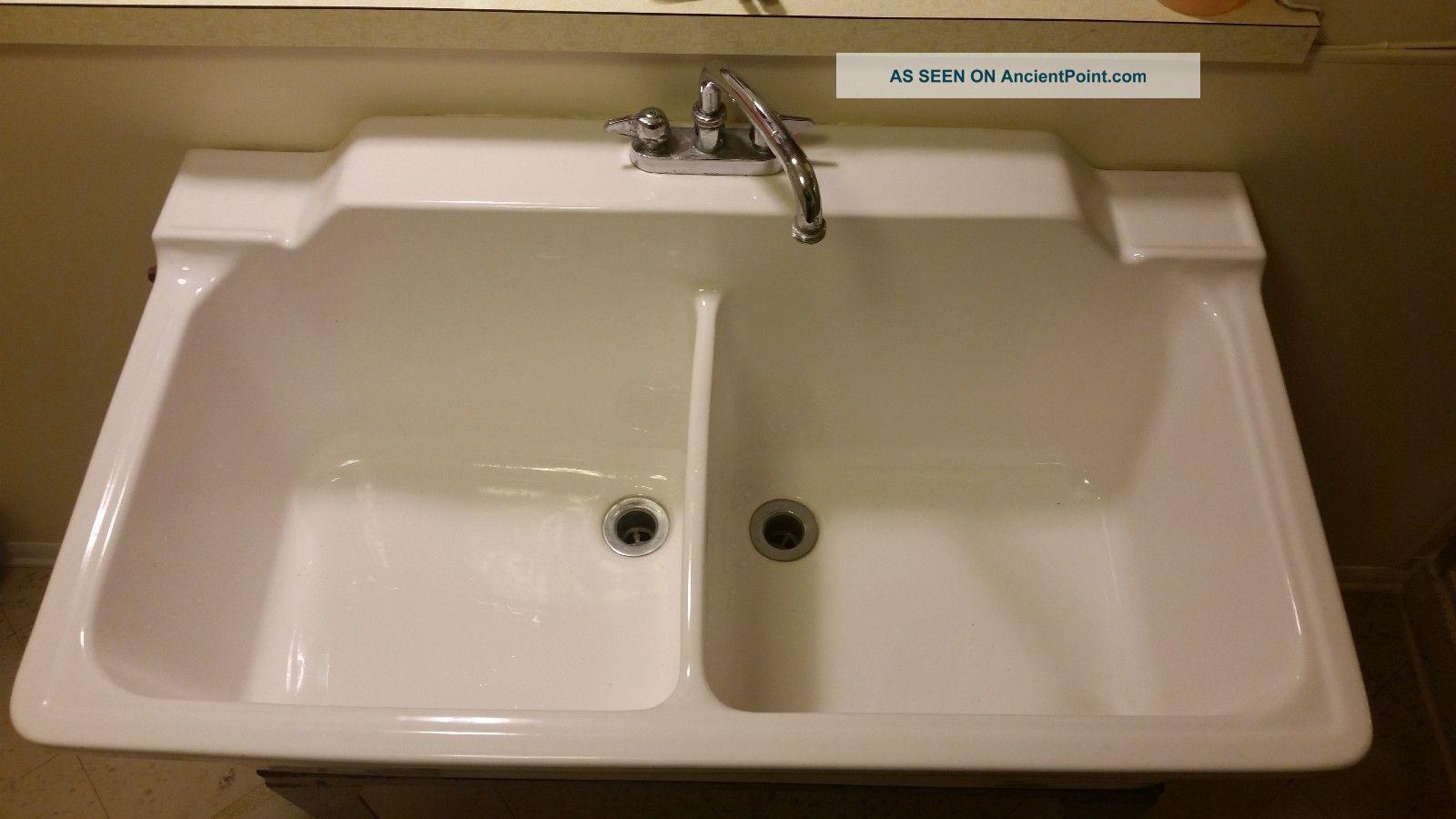Double Basin Laundry Sink : Vintage Laundry Porcelain Double Basin Sink Sinks photo 1