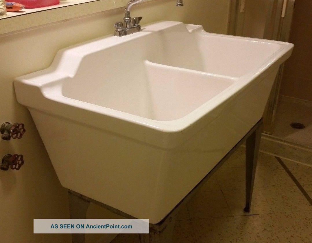 Laundry Double Sink : Vintage Laundry Porcelain Double Basin Sink Sinks photo 2