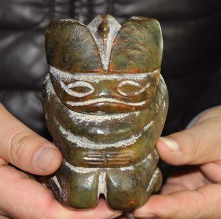850g Antique Chinese Hongshan Jade Carved Jade Statue photo