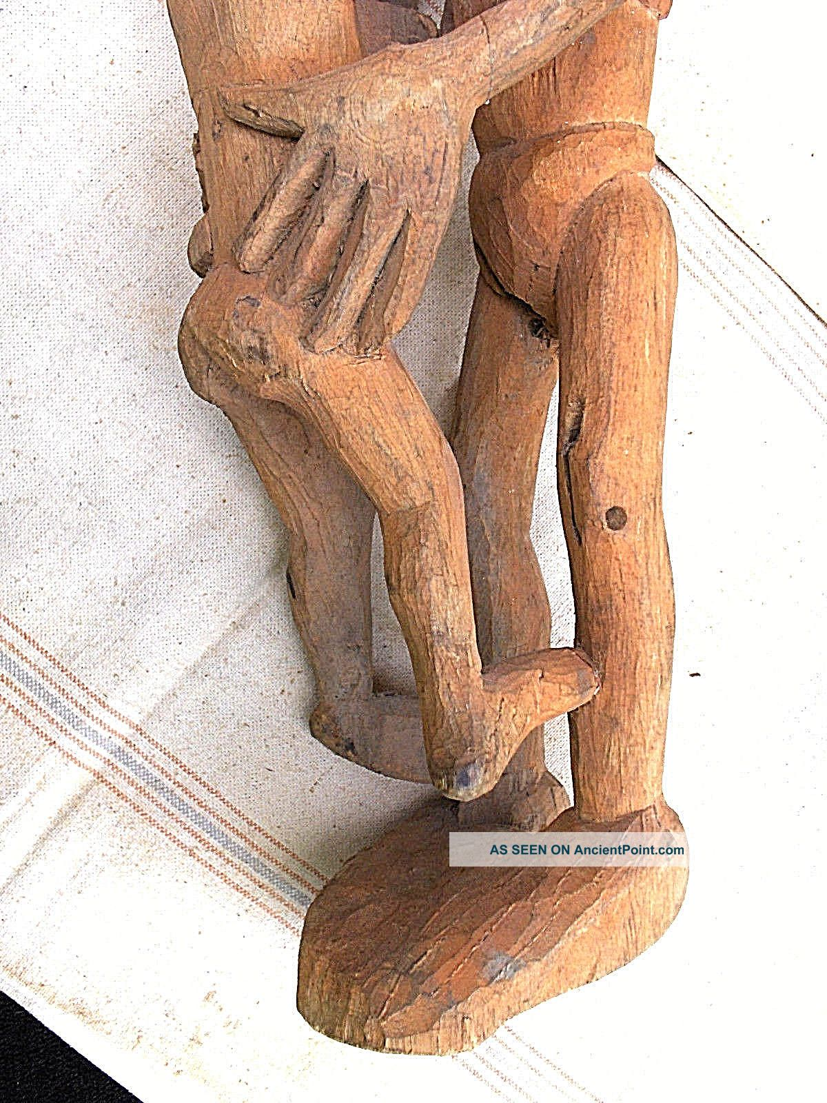Carved Wood Asmat Human Couple,  Southwest Guinea Pacific Islands & Oceania photo