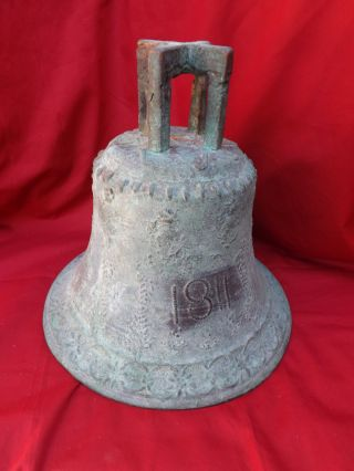 Antique Bronze School Church Bell Mexico Spanish Colonial 12 Inch Zacatecas photo