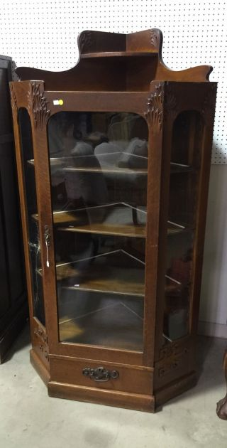 Antique American Oak Arts & Crafts Aesthetic Movement Corner China Cabinet photo