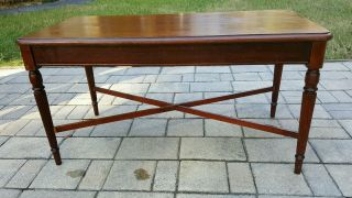 Antique Sheraton Tea Coffee Table Fire Mahogany.  Reeded Tapered. photo