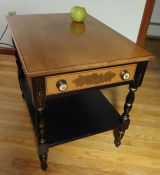 Signed Hitchcock Ebonized End Table W/maple Top Stencils & Eagle Drawer Pulls photo