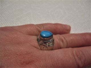 Vintage Islamic Middle Eastern Tribal Ethnic Natural Turquoise Ring خاتم اسلامي photo