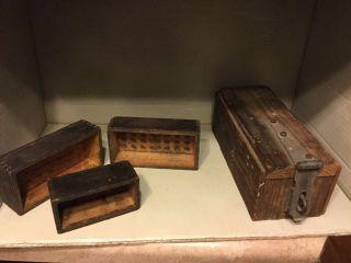 Primitive Vintage Wood Boxes Ct Of 4 photo