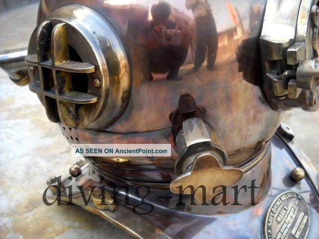 Antique U.  S Navy Model Mark V Solid Copper & Brass Divers Helmet With Base See more Diving Divers Helmet U.s Navy Mark V Solid Cop... photo