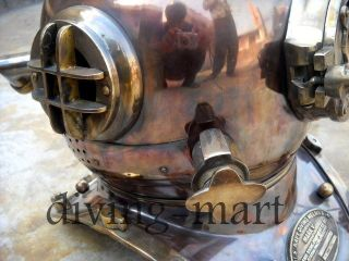 Antique U.  S Navy Model Mark V Solid Copper & Brass Divers Helmet With Base photo