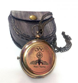 Artshai Berlin Olympic Games Design Pocket Watch With Chain And Leather Case photo