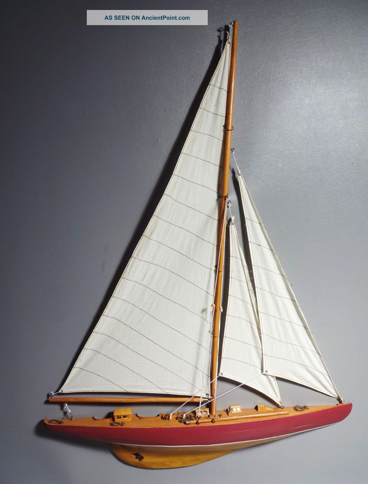"""Half Hull Sailboat Model Fully Assembled 33"""" High Wood Hull Fabric Sails Model Ships photo"""