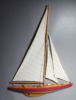 "Half Hull Sailboat Model Fully Assembled 33"" High Wood Hull Fabric Sails photo"