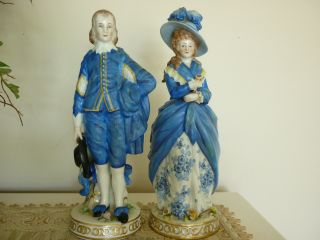 Antique German Figurines - Victorian - Stamped Germany W/ Gold Anchor - Exc - Read photo