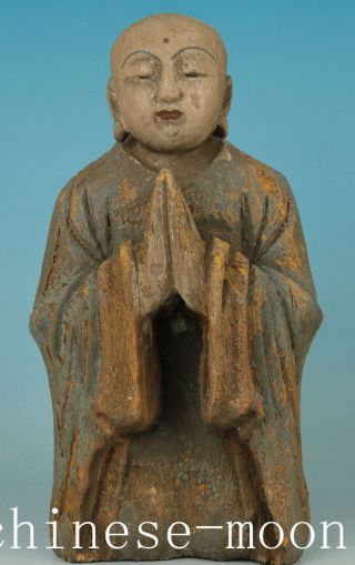 Chinese Old Wood Handmade Carved Buddha Kneel Monk Statue Figure Ornament photo